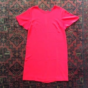 Ann Taylor Short-Sleeve Dress in Coral